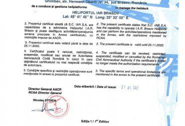 Certificat Heliport IAR