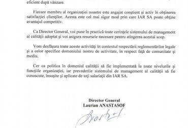 Declaratia de politica in domeniul calitatii IAR SA