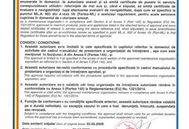 pg.1 Certificat de autorizare a organizatiei de intretinere RO.145.009, rev.10-21.10.2020